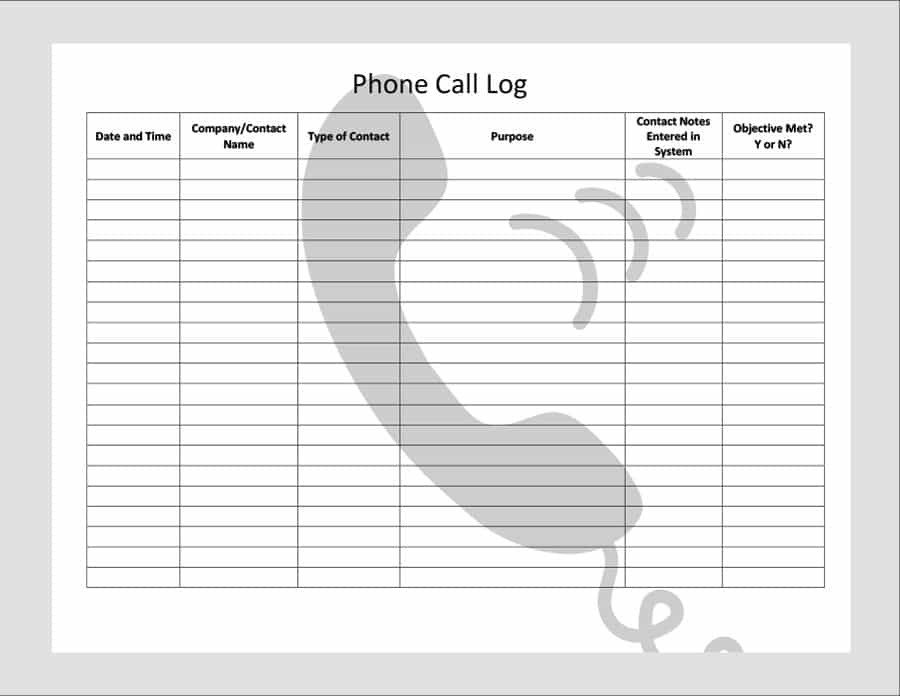 Voicemail Log Template 40 Printable Call Log Templates In Microsoft Word and Excel