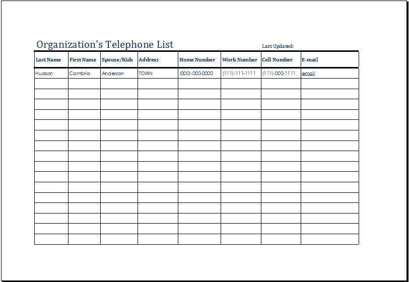 Voicemail Log Template organization S Telephone List Templates