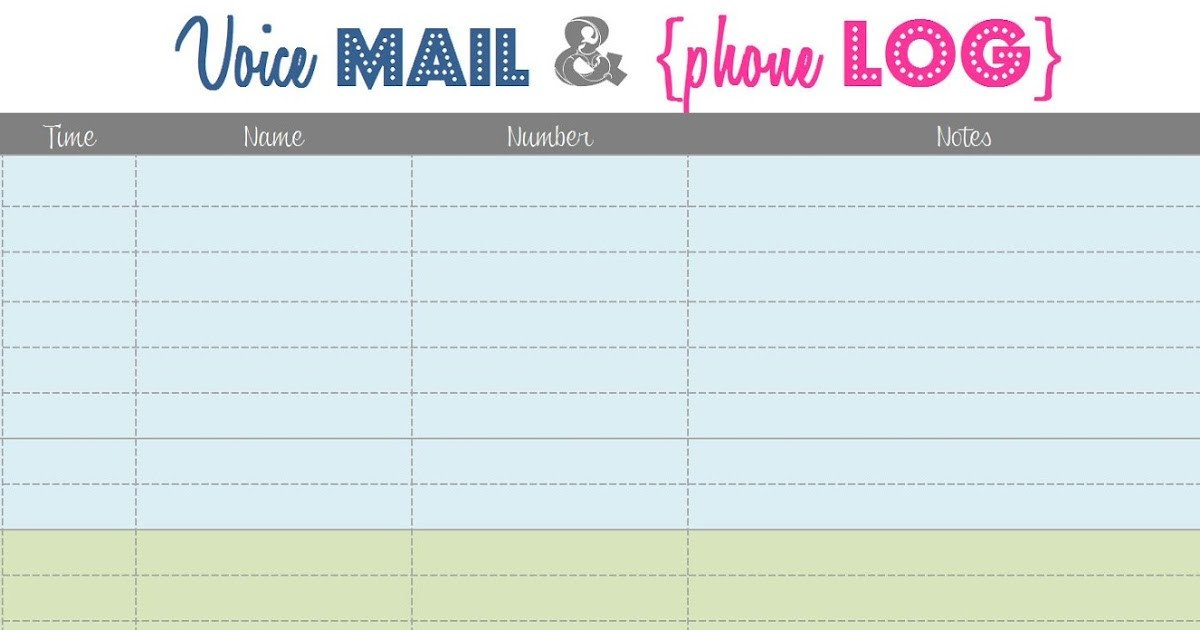 Voicemail Log Template something Craftastical Voice Mail and Phone Log Printable