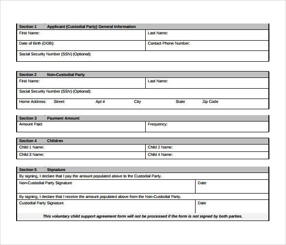 Voluntary Child Support Agreement Template 10 Sample Child Support Agreement Templates Pdf