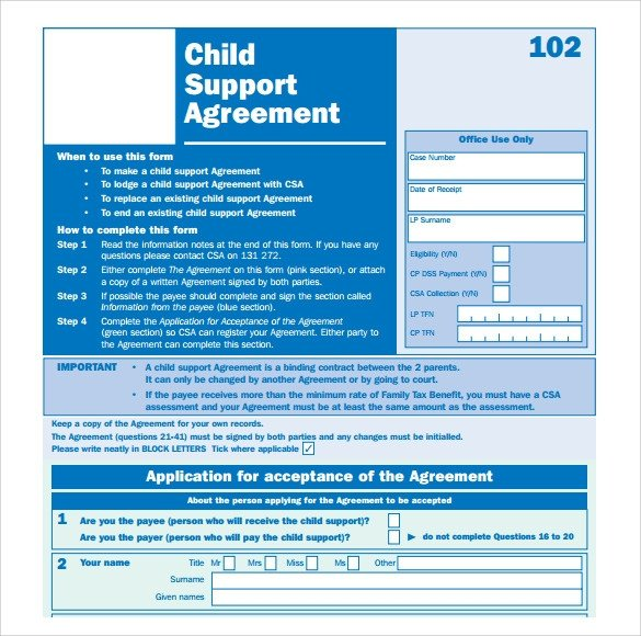 Voluntary Child Support Agreement Template Child Support Agreement 9 Download Free Documents In Pdf