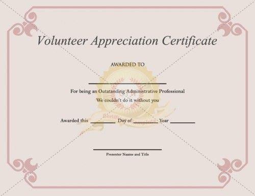 Volunteer Certificate Of Appreciation 20 Best Images About Appreciation Certificate On Pinterest