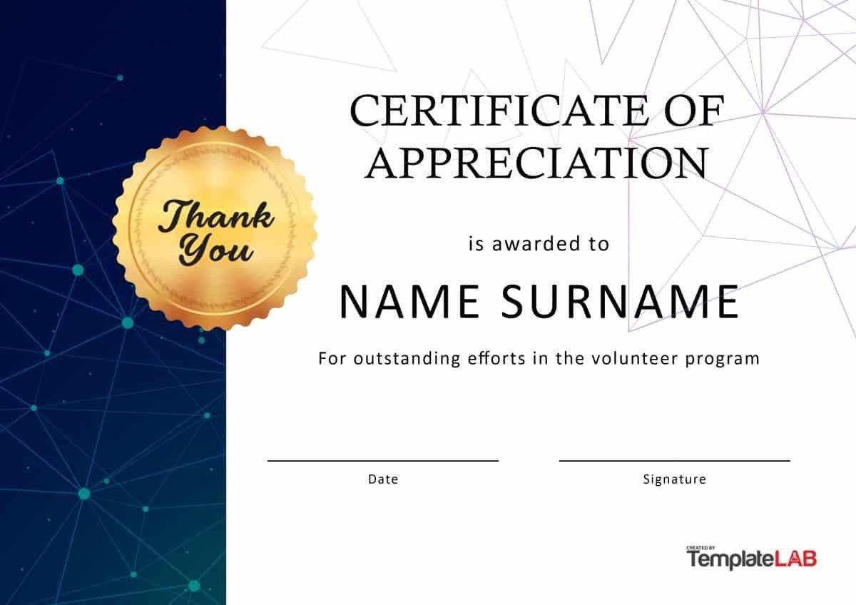 Volunteer Certificate Of Appreciation 30 Free Certificate Of Appreciation Templates and Letters