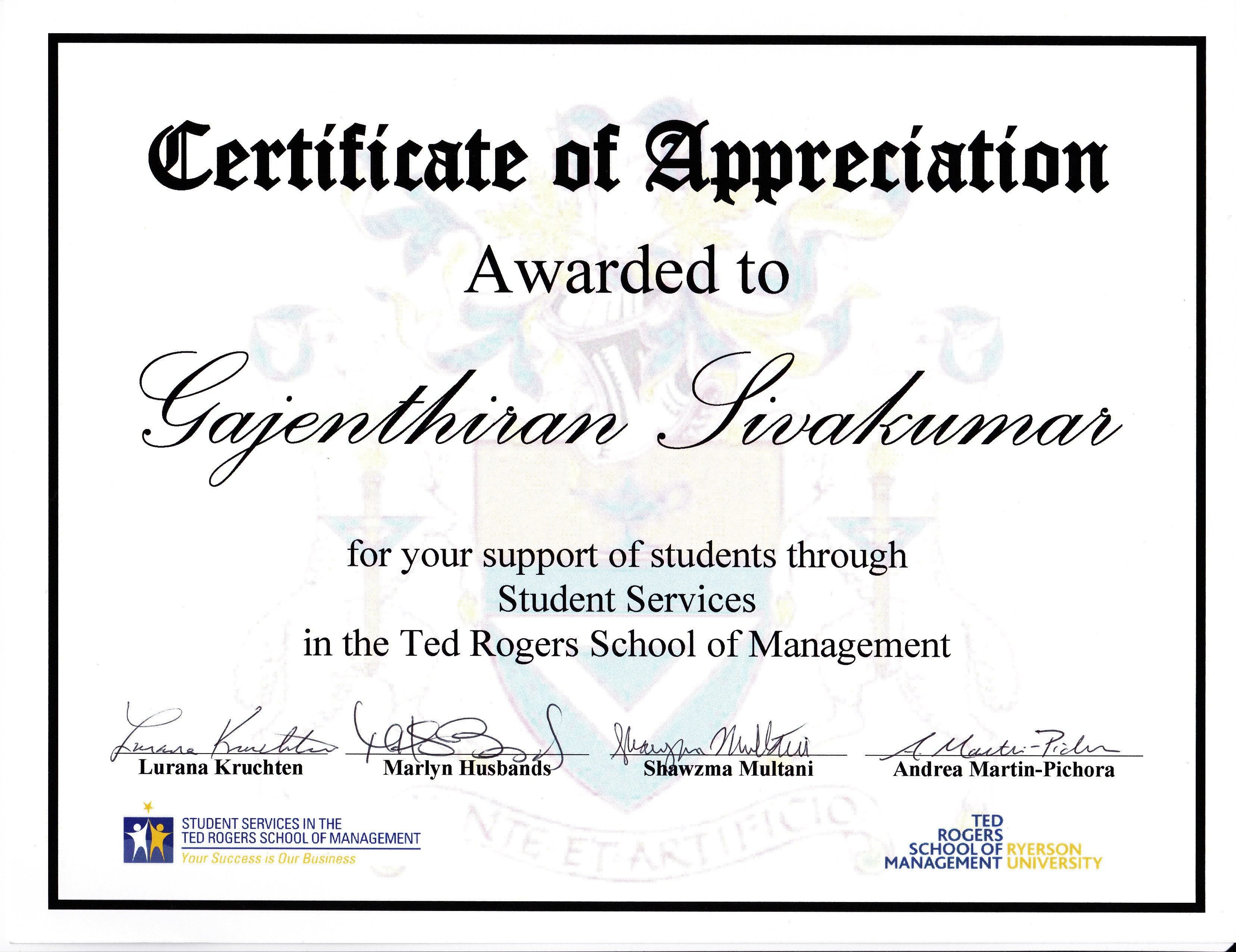 Volunteer Certificate Of Appreciation Awards and Certificates