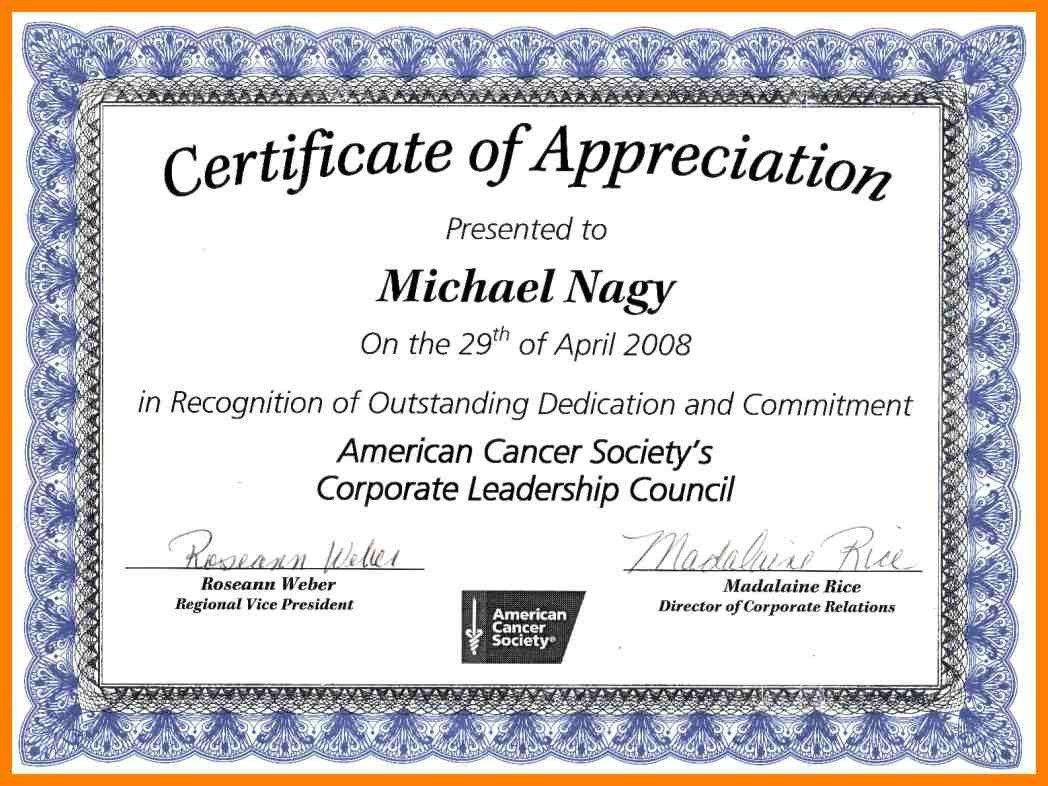 Volunteer Certificate Of Appreciation Certificate Appreciation Wording