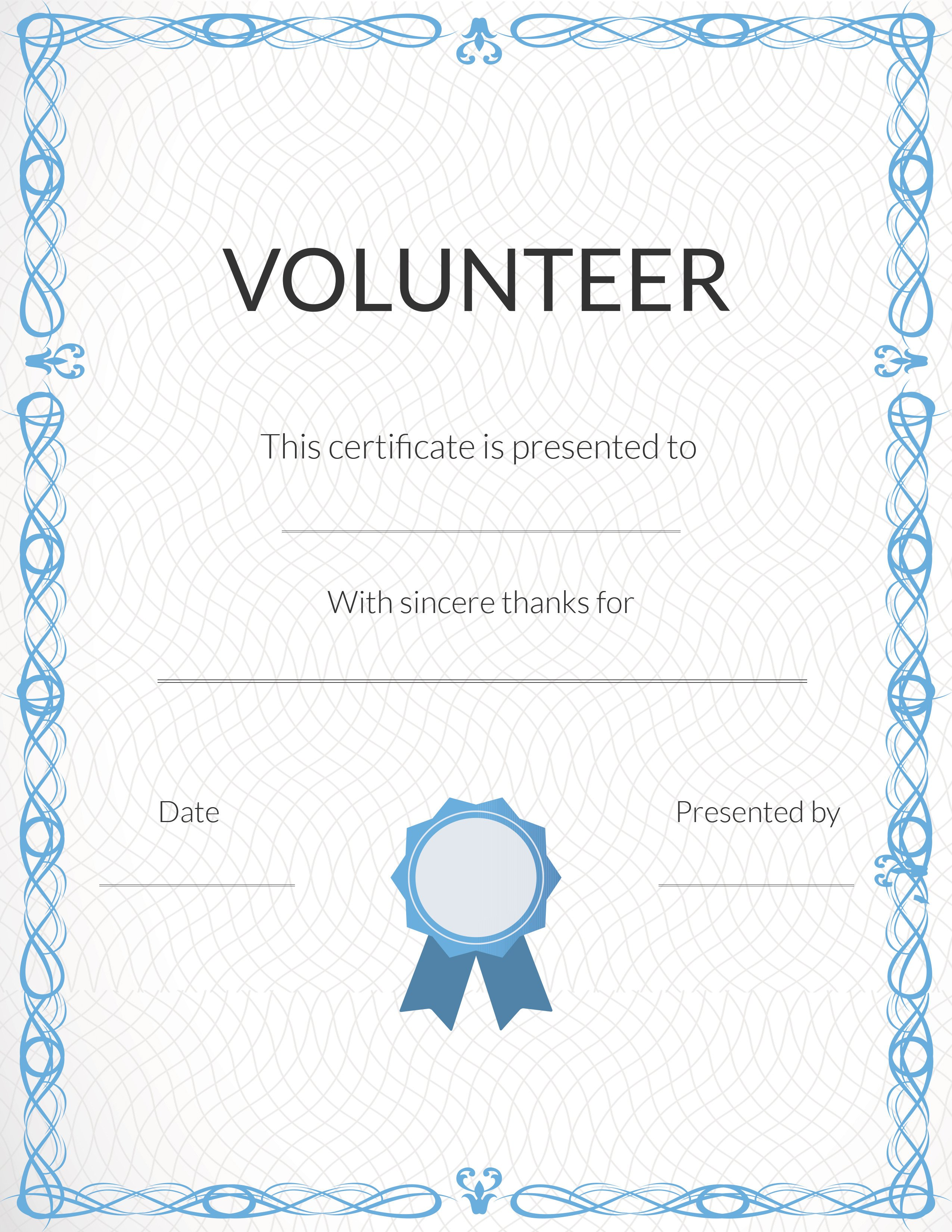 Volunteer Certificate Of Appreciation Free Printable Volunteer Appreciation Certificates