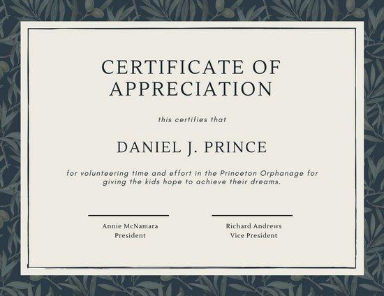 Volunteer Certificate Of Appreciation Green Olive Tree Leaves Volunteer Appreciation Certificate