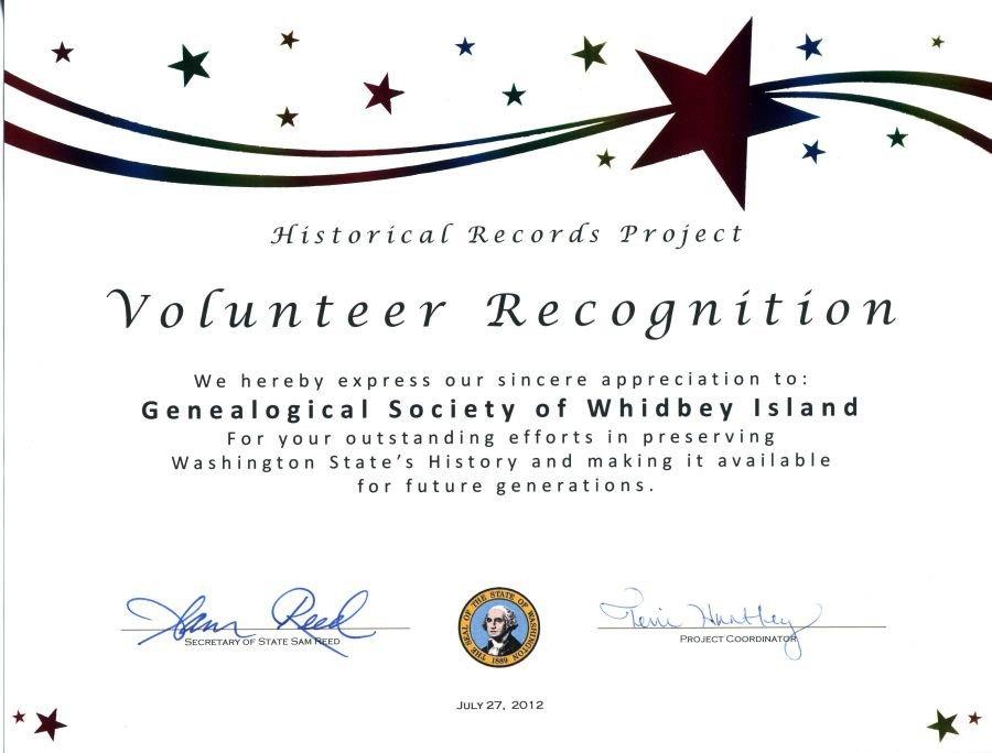 Volunteer Certificate Of Appreciation Gsswi Awards
