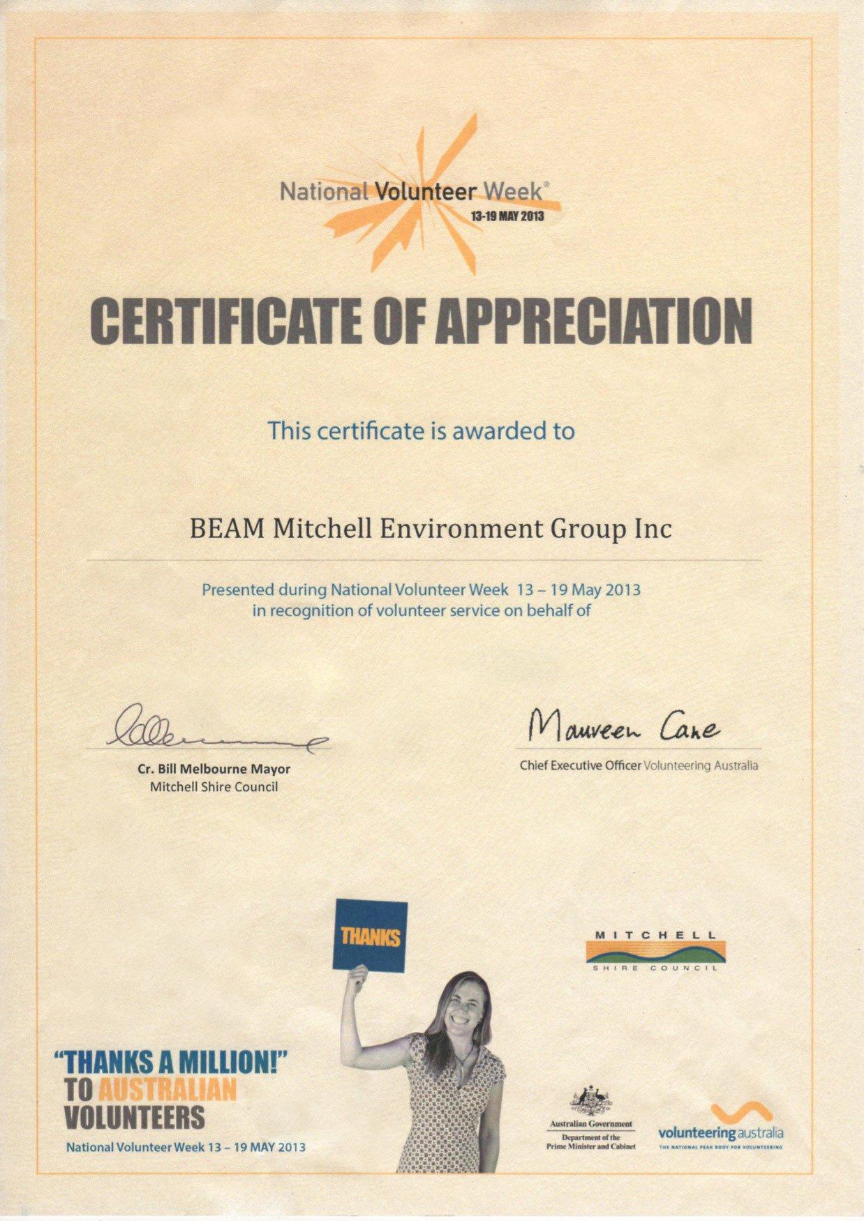 Volunteer Certificate Of Appreciation July 2013