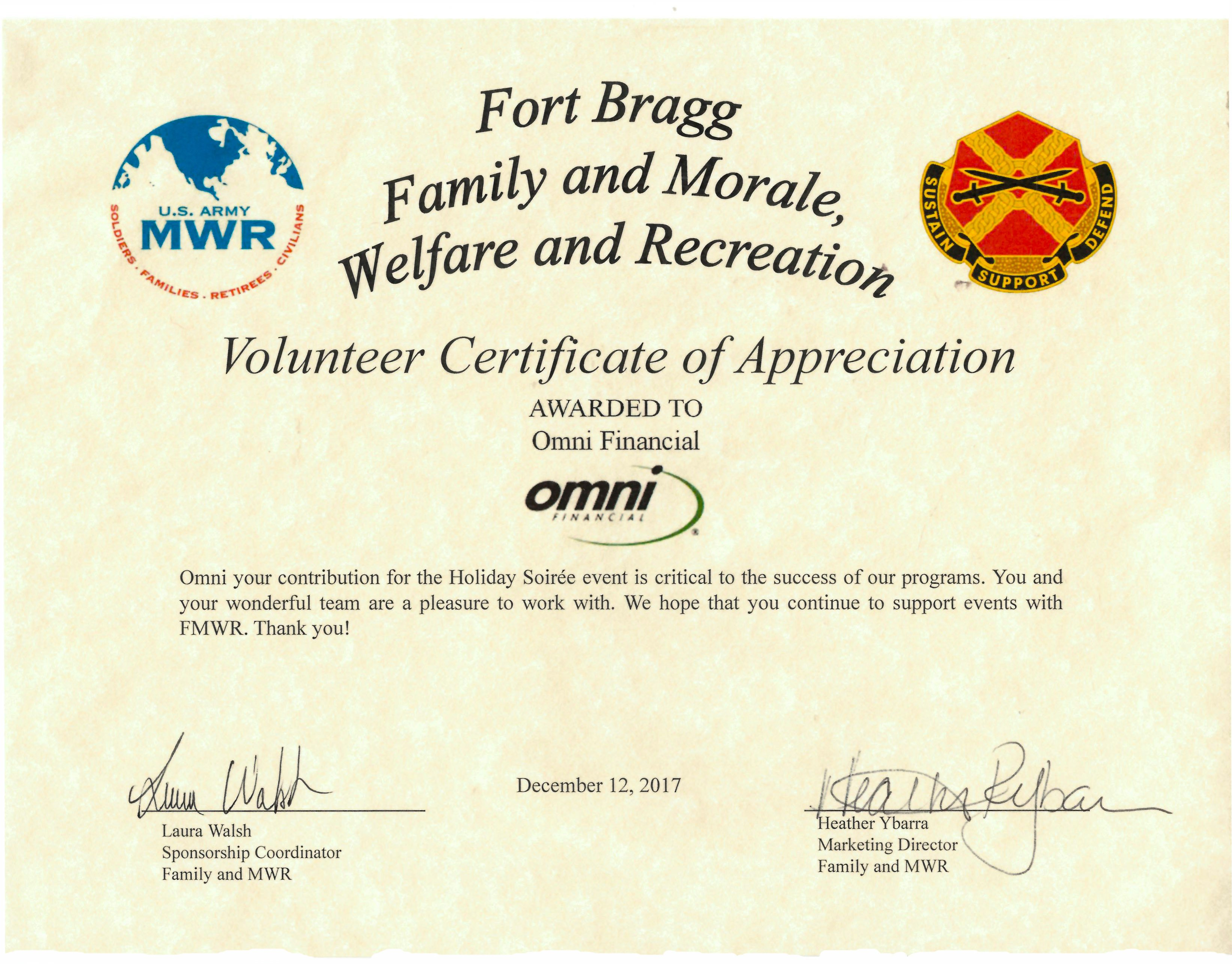 Volunteer Certificate Of Appreciation Omni Military Loans In Fayetteville Nc