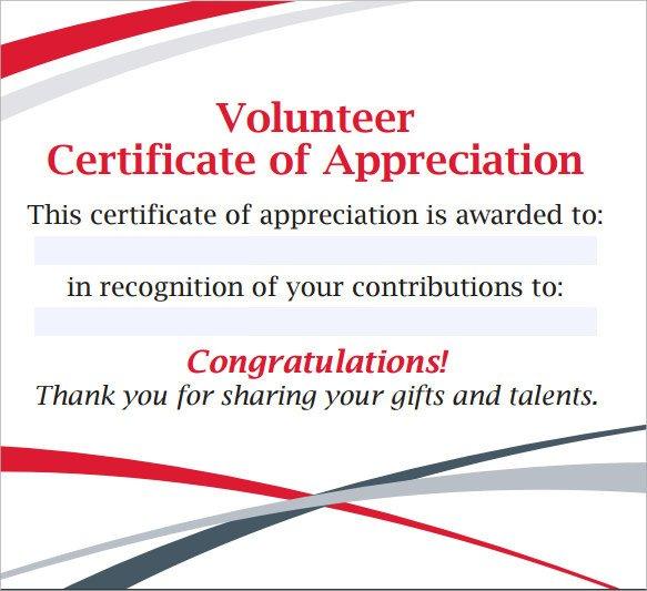 Volunteer Certificate Of Appreciation Sample Volunteer Certificate Template 13 Documents In