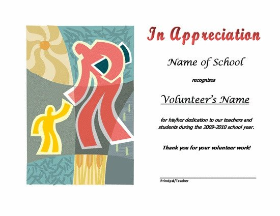 Volunteer Certificate Of Appreciation Thank You Certificates for Volunteers
