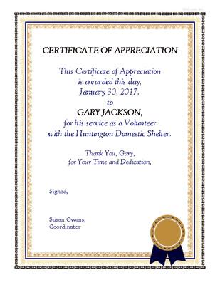 Volunteer Certificate Of Appreciation Volunteer Appreciation Certificate Encourage & Support