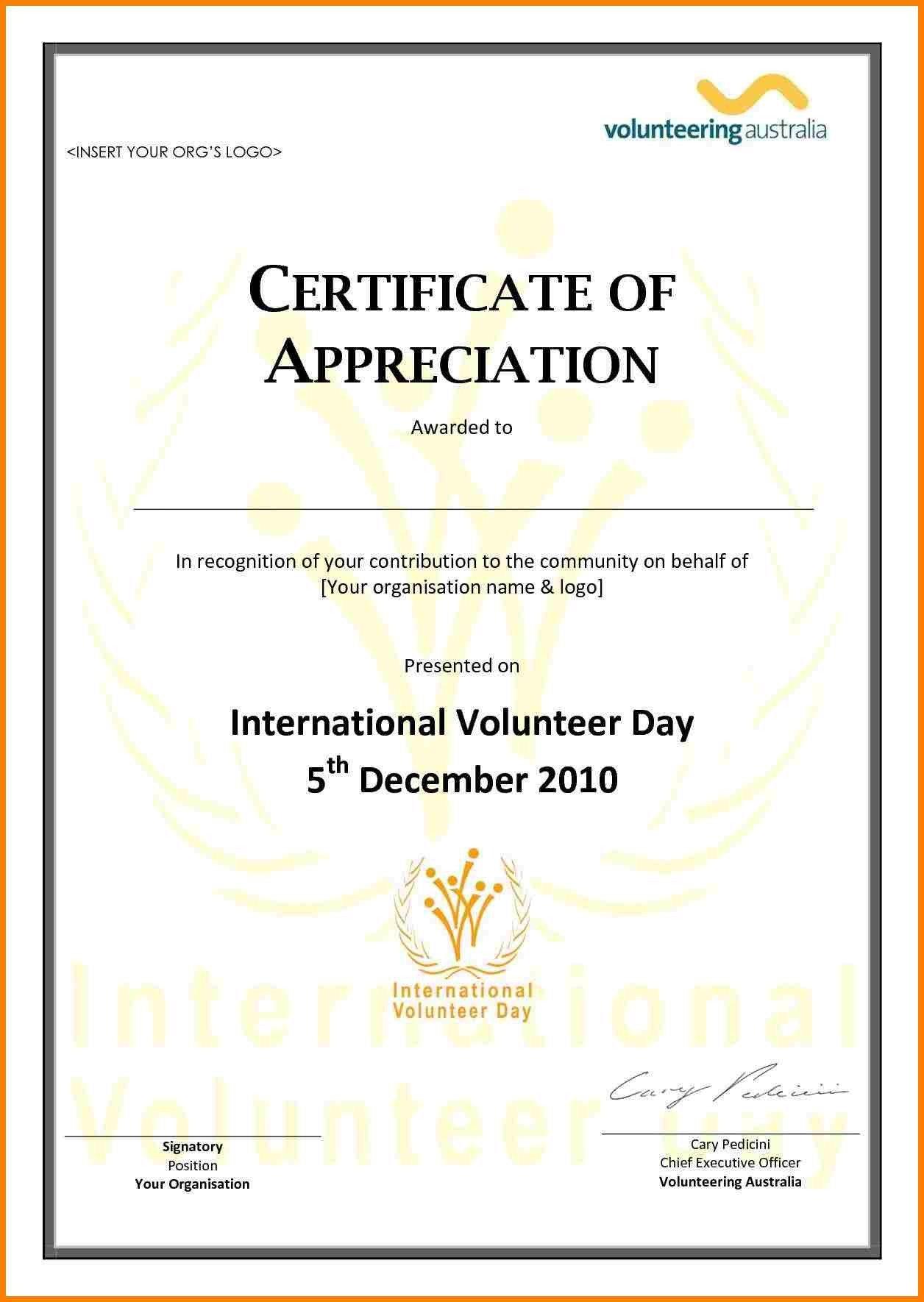 Volunteer Certificate Of Appreciation Volunteer Appreciation Certificate Template