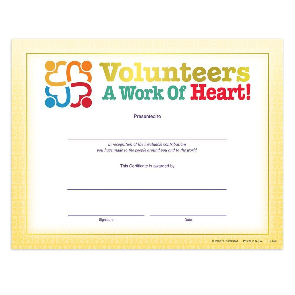 Volunteer Certificate Of Appreciation Volunteers A Work Heart Gold Foil Stamped Recognition