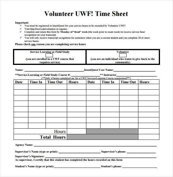 Volunteer Hours form Template 18 Volunteer Timesheet Templates – Free Sample Example