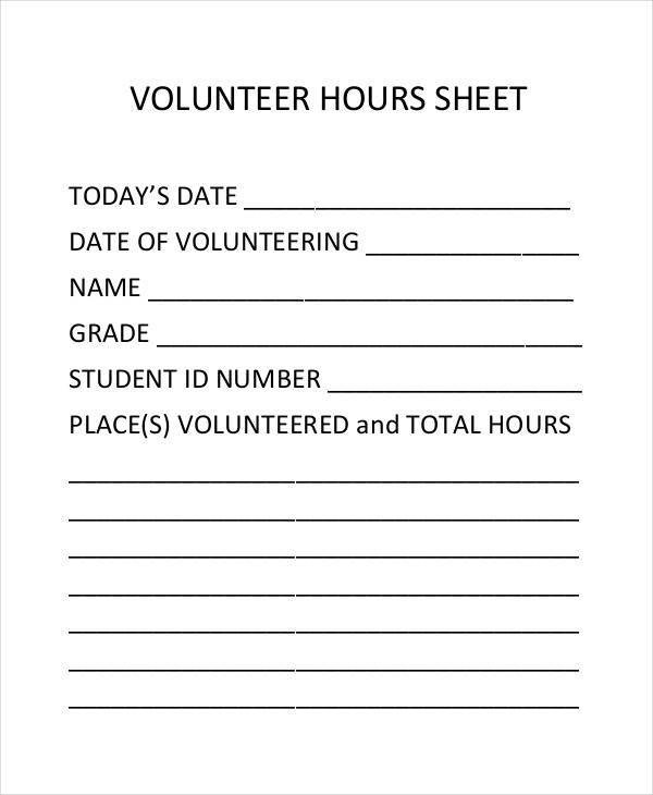 Volunteer Hours form Template 45 Printable Sheet Samples & Templates Pdf Doc