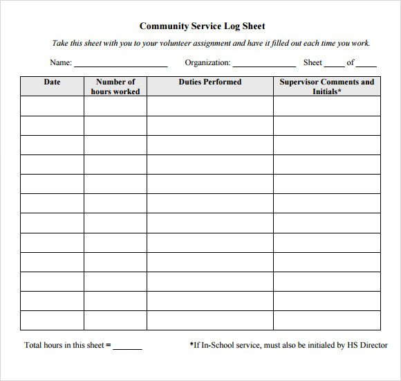 Volunteer Hours form Template Sample Log Sheet 9 Documents In Pdf Word