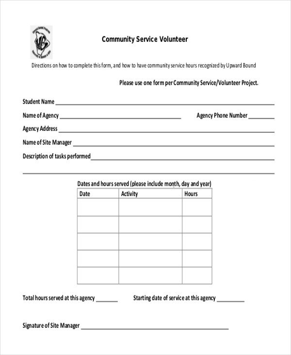 Volunteer Hours form Template Sample Munity Service form 10 Free Documents In Pdf