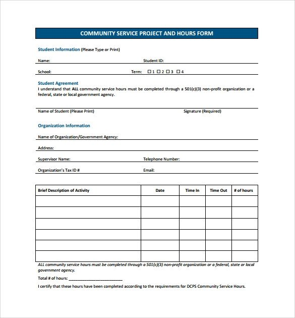 Volunteer Hours form Template Sample Service Hour form 13 Download Free Documents In