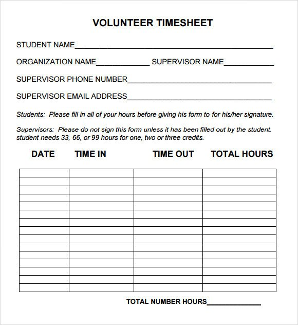 Volunteer Hours form Template Sample Volunteer Timesheet 10 Example format