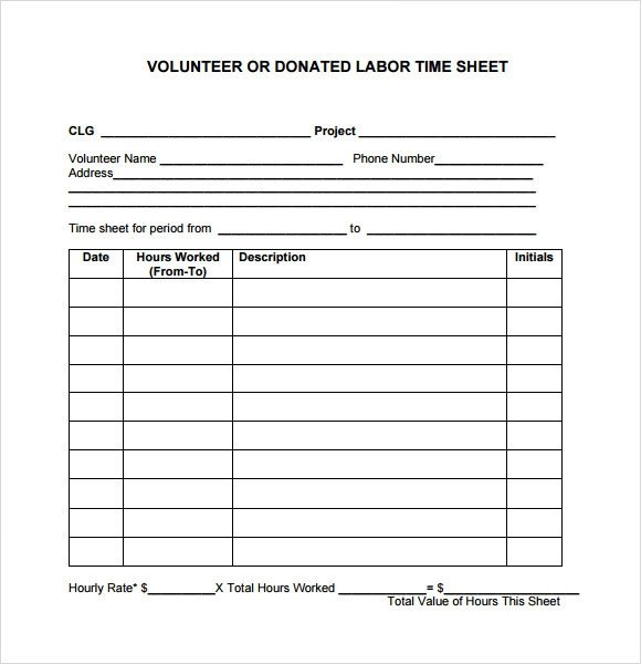 Volunteer Hours form Template Sample Volunteer Timesheet – 9 Example format