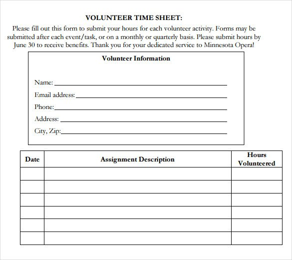 Volunteer Hours form Template Volunteer Hour forms Template