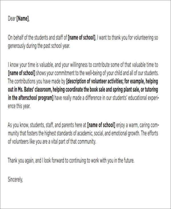 Volunteer Letter Of Appreciation 51 Appreciation Letter Samples Pdf Word Pages Google