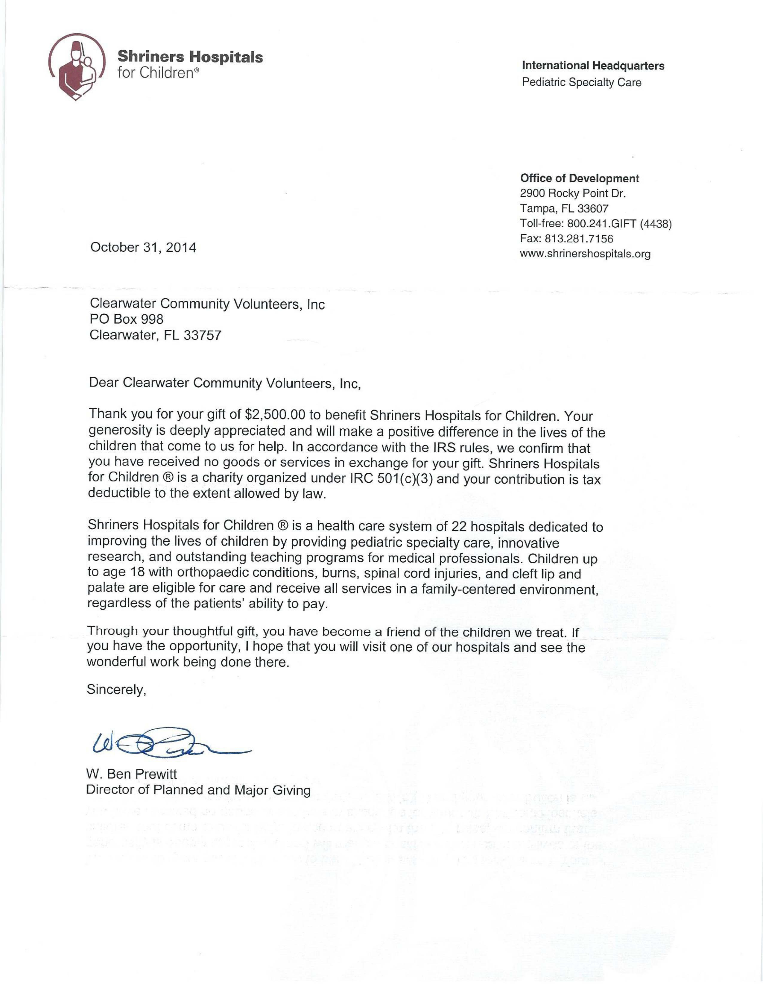 Volunteer Letter Of Appreciation Shriners Hospital Letter Of Appreciation