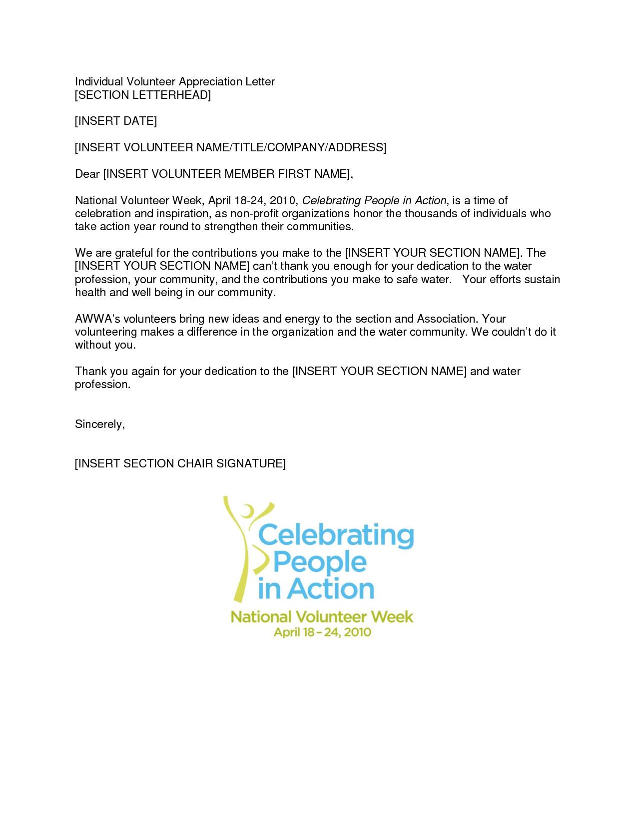 Volunteer Letter Of Appreciation Volunteer Appreciation Letter Sample