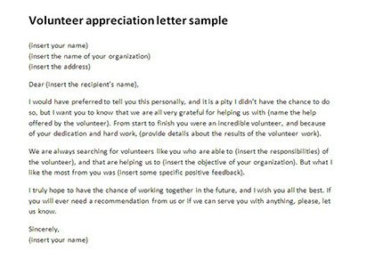 Volunteer Letter Of Appreciation Volunteer Appreciation Letter Sample