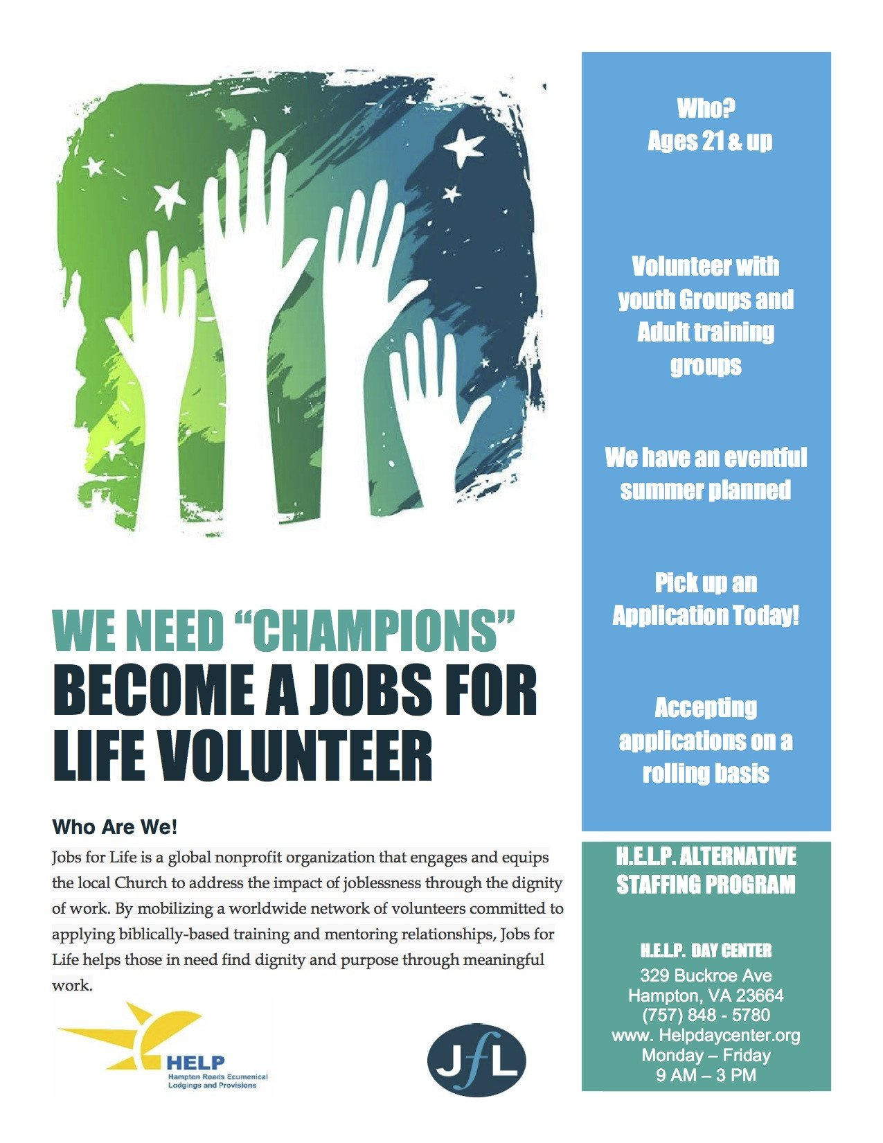 Volunteer Recruitment Flyer Template Jobs for Life Echurch