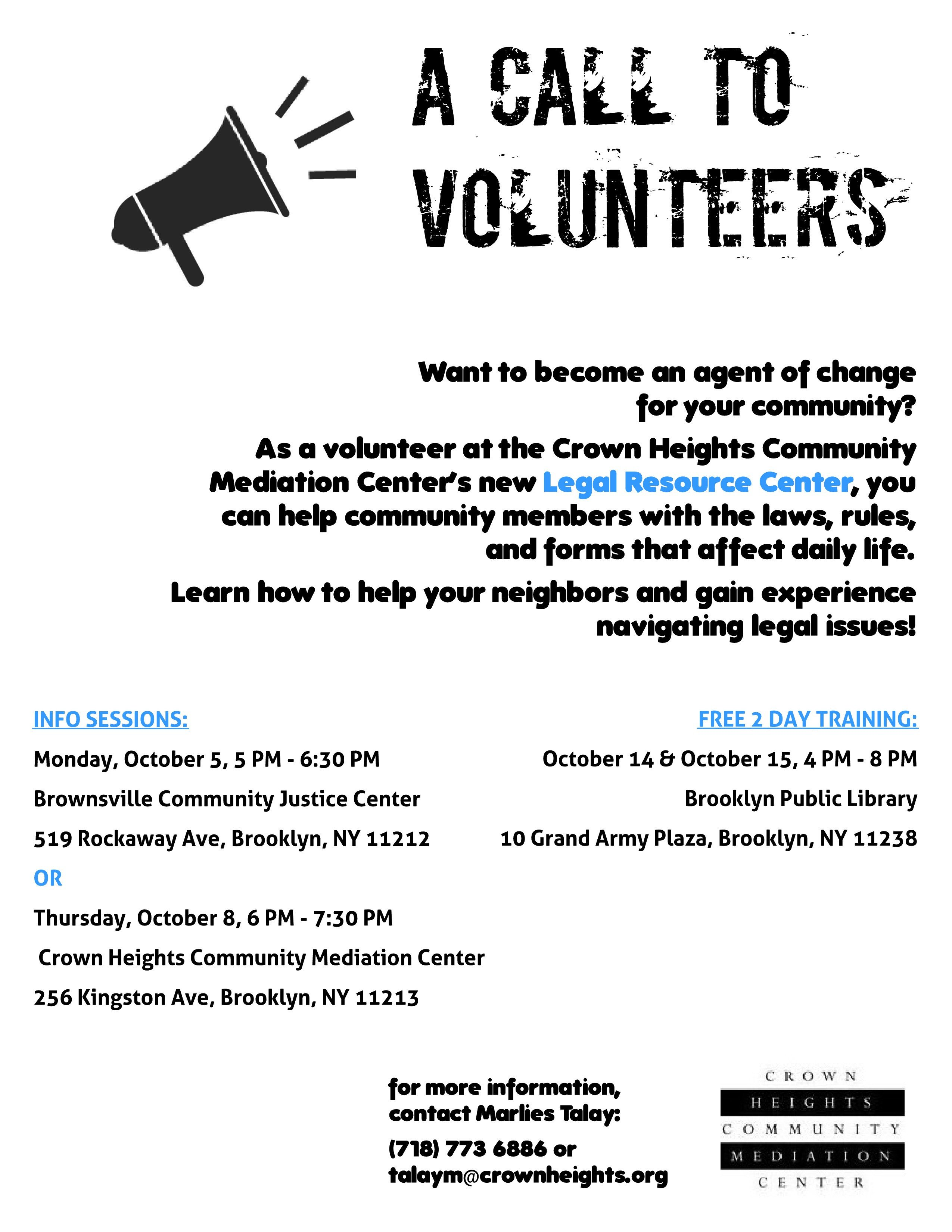 Volunteer Recruitment Flyer Template Volunteer with the Mediation Center and Gain Legal
