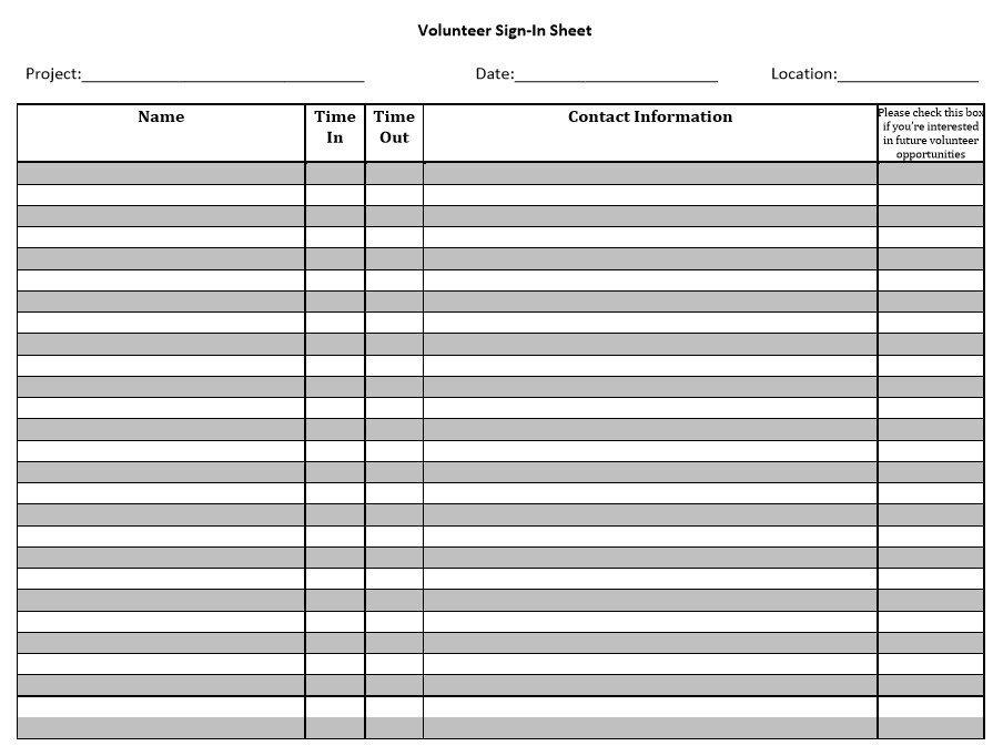 Volunteer Sign In Sheet 10 Free Sample Volunteer Sign In Sheet Templates