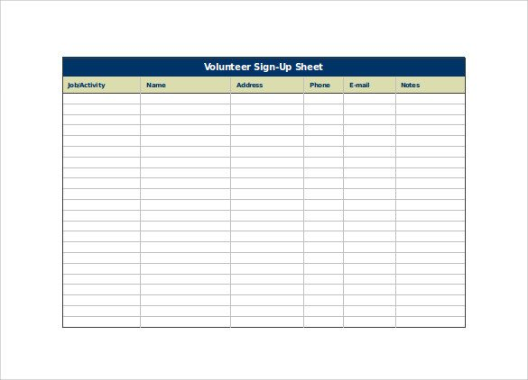 Volunteer Sign In Sheet 23 Sample Sign Up Sheet Templates Pdf Word Pages Excel