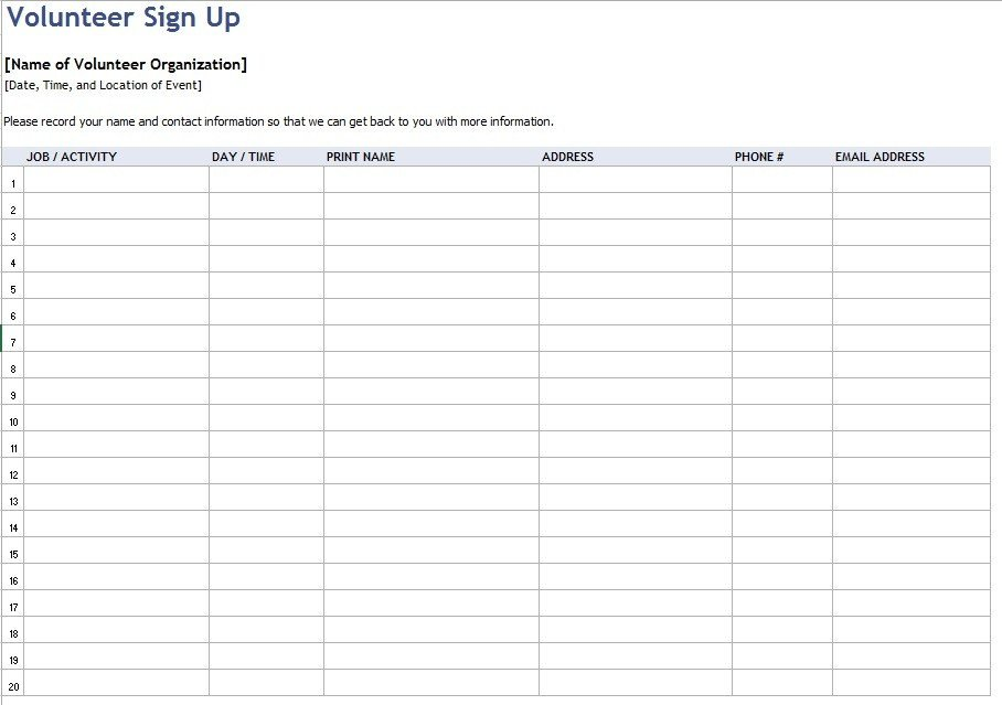 Volunteer Sign In Sheet 9 Free Sample Volunteer Sign Up Sheet Templates