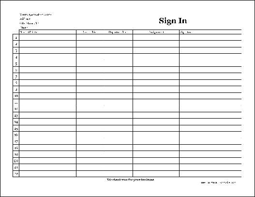 Volunteer Sign In Sheet Free Easy Copy Basic Pany Volunteer Sign In Sheet with