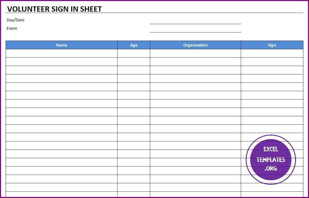 Volunteer Sign In Sheet Volunteer Sign In Sheet Template Excel Templates