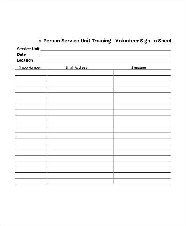Volunteer Sign In Sheet Volunteer Sign In Sheet Templates 14 Free Pdf Documents