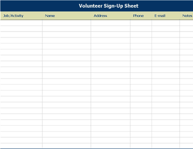 Volunteer Sign In Sheet Volunteer Sign Up Sheet