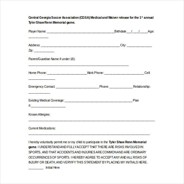 Waiver form Template for Sports 15 Sample Medical Waiver forms