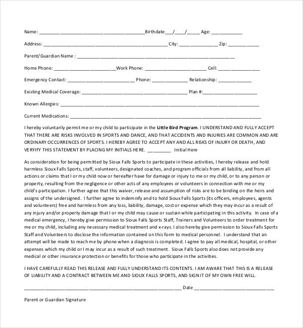 Waiver form Template for Sports 20 Sample Medical Release forms