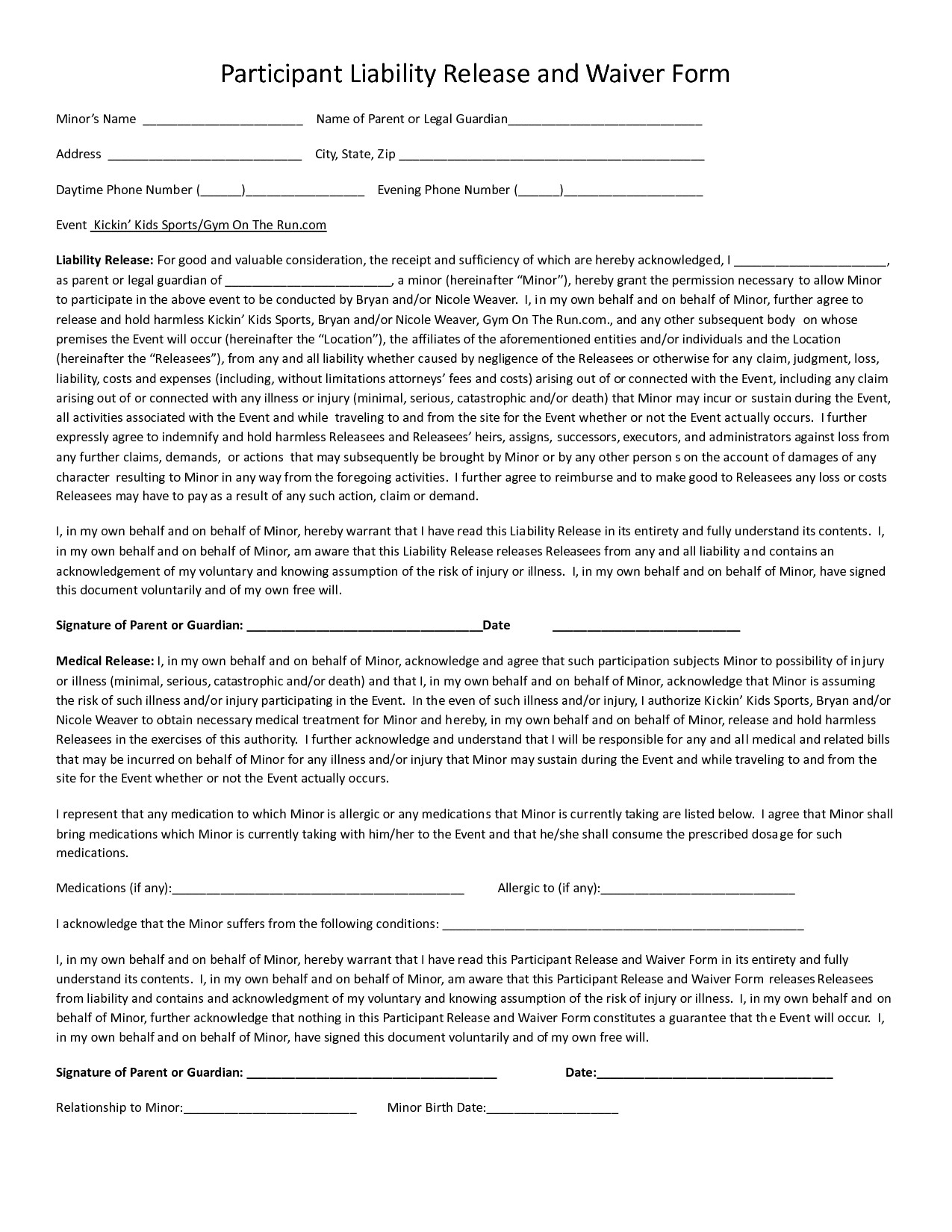 Waiver form Template for Sports 24 Of Sports Liability Waiver form Template