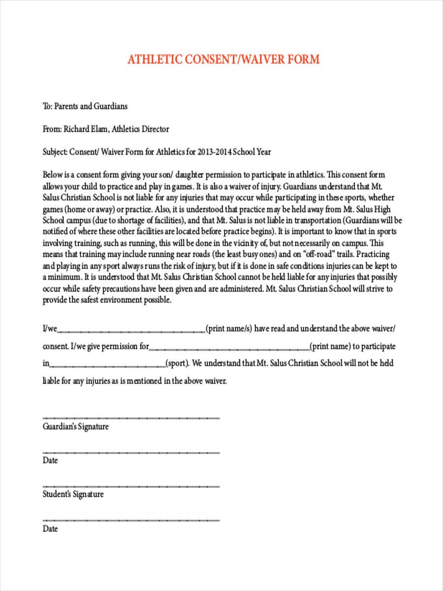 Waiver form Template for Sports 8 Sports Waiver form Samples Free Sample Example