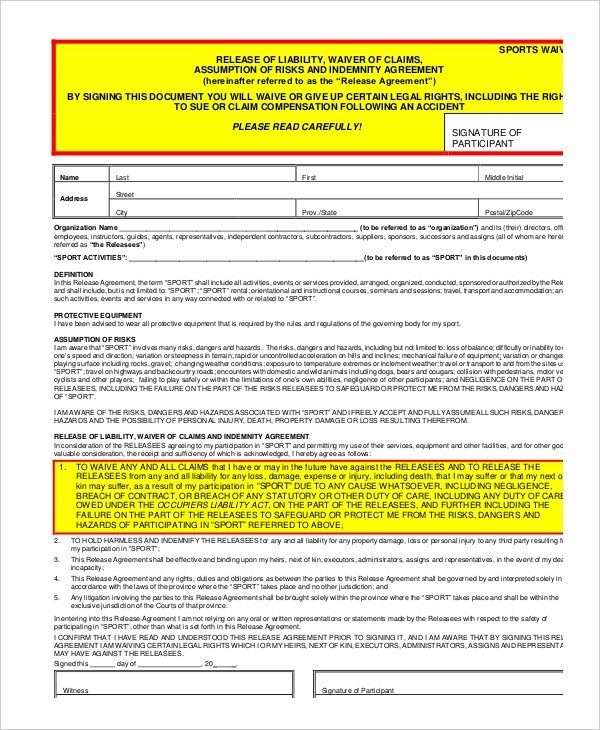 Waiver form Template for Sports Liability Insurance Liability Insurance Waiver