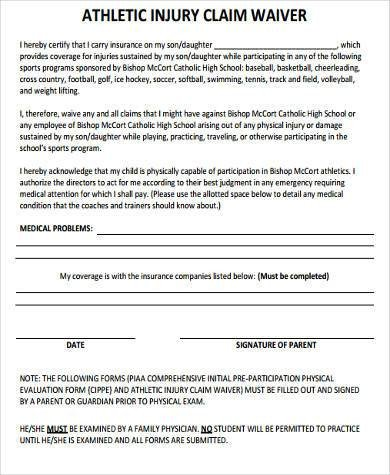Waiver form Template for Sports Sample athlete Waiver forms 9 Free Documents In Word Pdf