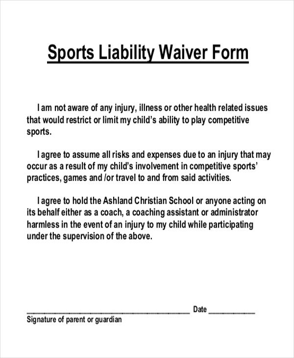 Waiver form Template for Sports Sample Liability Waiver form 11 Free Documents In Pdf