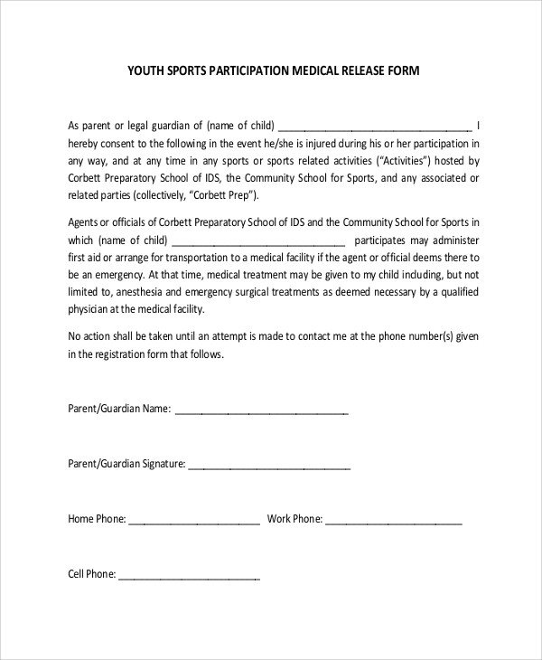 Waiver form Template for Sports Sample Medical forms 9 Examples In Word Pdf