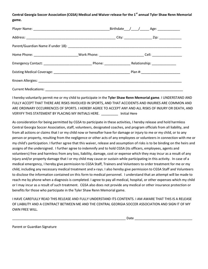 Waiver form Template for Sports Youth Sports Medical Release form In Word and Pdf formats