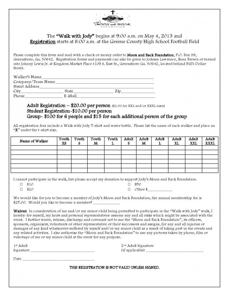 Walkathon Registration form Template forms